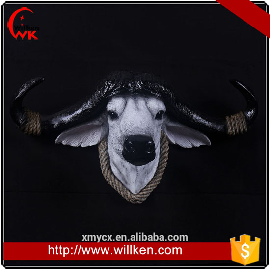Faux Resin Bull Head Hanging Wall Mount Home Decor Statue Figurine.