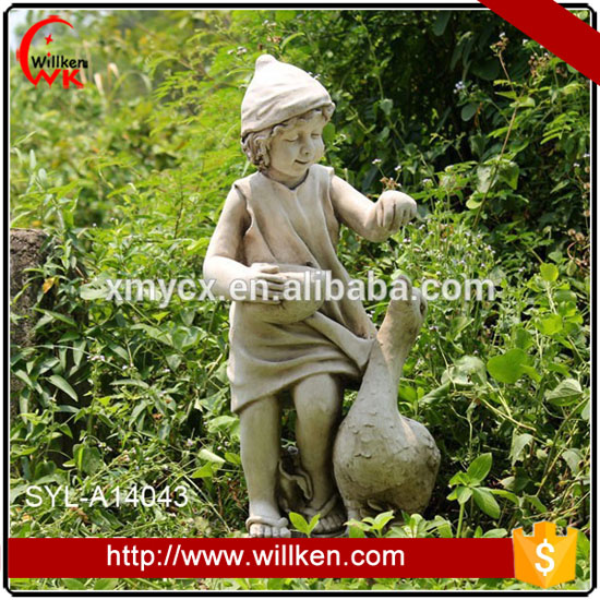 MGO garden landscaping feeding ducks boy statue